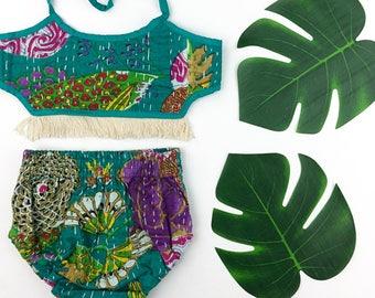 Kantha Bloomer Set, Bloomer Crop Top Set, Beachwear, Summer Romper, Bohemian Toddler Clothing, Kids Boho Crop Top, Hippie