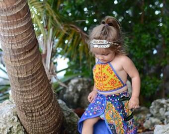 12-24 months, 1-2 Year Tulip Skirted Banjara Set, bohemian baby skirt, baby bloomers, baby romper, hippie baby, boho baby shower, baby crop