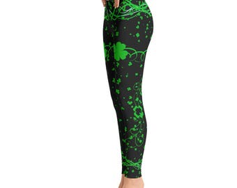 St. Patricks Day  Leggings - Saint Patrick Leggings - clover leaf - Yoga Leggings - Patterned Leggings - Print Leggings