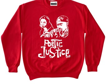 Poetic Justice - Red Crewneck Sweatshirt To Match Retro Air Jordans 11 Win Like 96 Gym Red XI Low IE Fire 5 V Suede 12 Cherry Varsity Tupac