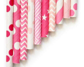 10 Mixed Pink Paper Straws ~ 1st Birthday ~ Hen Party Paper Straws ~ Bridal Shower Paper Straws ~ Pink And Gold Paper Straw Mix ~