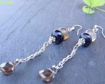 Quartz Drop Earrings - Gemstone Long Dangle Teardrop Chain Dragon's Vein Agate Black Smoke