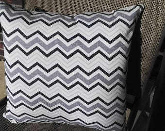 Pillow cover 18x18 in black,grey and white Chevron pattern with side zipper.