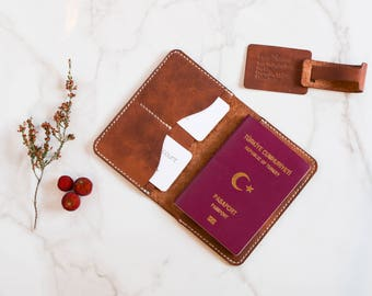 Travel accessory, Traveler Gift, Travel Pack,  Wedding Gift, Gift Set, Travel Set, Leather Luggage Tag, Leather Personalized Passport holder
