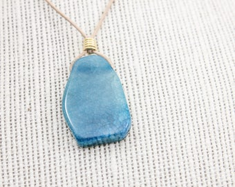LIGHT BLUE AGATE Leather Cord Necklace - Brown Leather Cord - 26 inch Adjustable Necklace - Gift