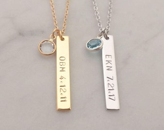 Custom Hand Stamped Name Date Swarovski Crystal Birthstone Birth Stone Tag Necklace, Gold Silver Vertical Nameplate Bar, Birthday Gift