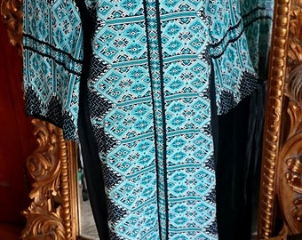 Vintage Indian Blue and Black Embroidered 1970's Caftan