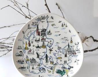 Inger Waage - Vintage Norwegian Stavangerflint. Large Turist plate Denmark. Made in Norway - Scandinavian Modern