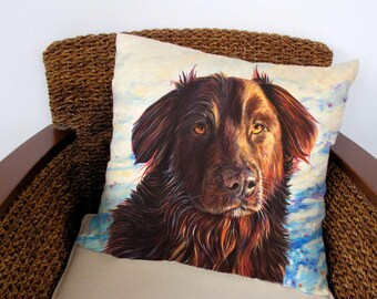 "Mix Breed Retriever Dog Pillow, Dog Pillowcase. Dog Art Pillow. Designer Cushion Image is Painting ""Retrievers Love Snow"" by Kate Green"