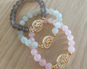 Gemstone & OM bracelet, Moonstone, Rose Quartz, Gray Agate, Gold OM, spiritual jewelry, healing crystals, gemstone bracelet