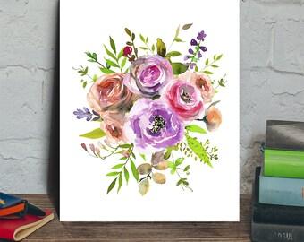 Flower bouquet digital art, flower digital print, flower printable, flower digital art, flower decor, flower instant download