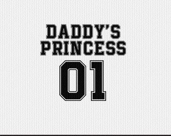 daddy's princess 01 svg dxf file instant download silhouette cameo cricut clip art commercial use