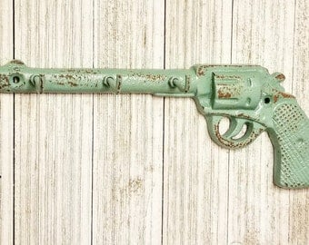 Key Holder, Kitchen Wall Decor, Gun Decor, Gun Gift, Key Holder Wall, Wall Key Holder, Wall Decor, Home Decor Gun Key Hook Rustic Key Hanger