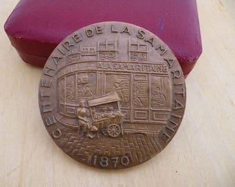 Bronze medal - centenary of La Samaritaine Paris - 1870-1970 - vintage bronze - medal collection Medal