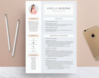 Resume Template 3 page | CV Template + Cover Letter for MS Word | Instant Digital Download | 'Amelia'