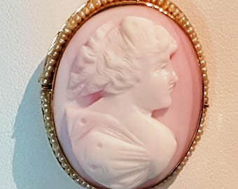 10K Yellow Gold Porcelain Cameo with Seed Pearl Frame, #PP2