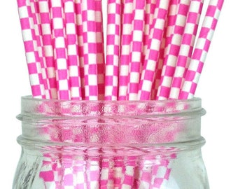 Bubblegum Pink Checkered Paper Straws, Party Supplies, Party Decor, Bar Cart Cake Pop Sticks, Party Graduation