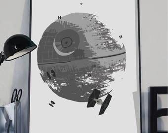 Star Wars death star art print, Death Star wall poster, Star Wars wall poster, Death Star print,