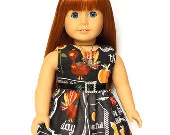 Sleeveless Dress, Turkey, Pumpkin, Black, White, Orange, Fall, American, 18 inch Doll Clothes