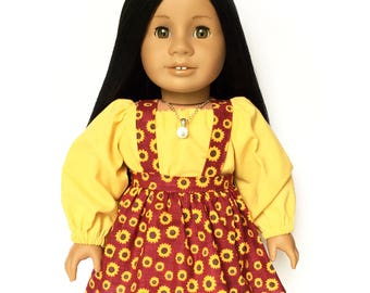 Suspender Skirt, Doll Skirtall, Floral, Sunflower, Burgundy Red, Yellow, Brown, Fits dolls such as American Girl, 18 inch Doll Clothes