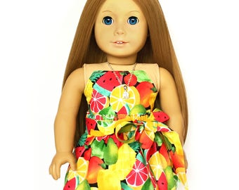 Flare Skirt, Sash Belt, Mixed Fruit, Red, Yellow, Green, Fruit, Fits dolls such as American Girl, 18 inch Doll Clothes, Mix and Match