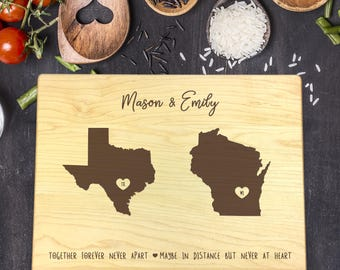 Custom Cutting Board, State, Double States, Distance, Heart Over City, Gift For Her, Gift For Him, Housewarming Gift, Christmas Gift, B-0078