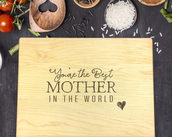 Personalized Cutting Board, Engraved Cutting Board, Custom Cutting Board, Mothers Day Gift, Gift for Her, Gift for Mom, Best Mother, B-0119
