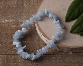 AQUAMARINE Chip Bracelet - Aquamarine Crystal, Aquamarine Jewelry, Stretch Bracelet, Aquamarine Bracelet, Healing Stone Bracelet E0631