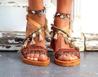 "Leather Boho Sandals, ""Atlantida"", Greek Sandals, Handmade Sandals, brown summer sandals, hippie sandals,  Leather sandals,"
