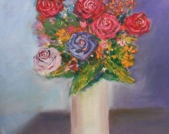 Flower painting-Oil on canvas- Oil Realistic -Oil Painting- Still nature painting-Super realistic painting-Original canvas oil art-Roses art