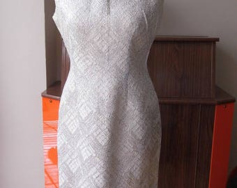 "1950s wiggle dress, silver party dress bust 38/39"" Bust"