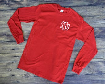 SALE!! Monogrammed Long Sleeve Shirt - Monogram Shirt - Monogram T-shirt - Monogram Tshirt Personalized Shirt Monogram Tee Monogrammed Tee