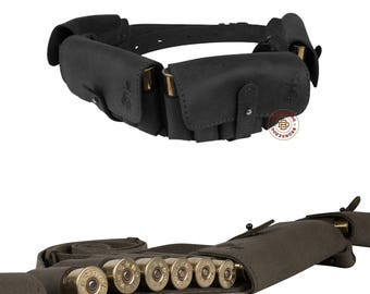 Leather Cartridge Belt Holder Ammo Bandolier 24 x 12 Ga Hunting Shotgun Shell Case