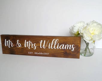Mr & Mrs Personalised Sign - Wedding Gift - Anniversary - Rustic Wedding Sign - Mr and Mrs Gift - Bride and Groom Gift - Custom Wedding Sign
