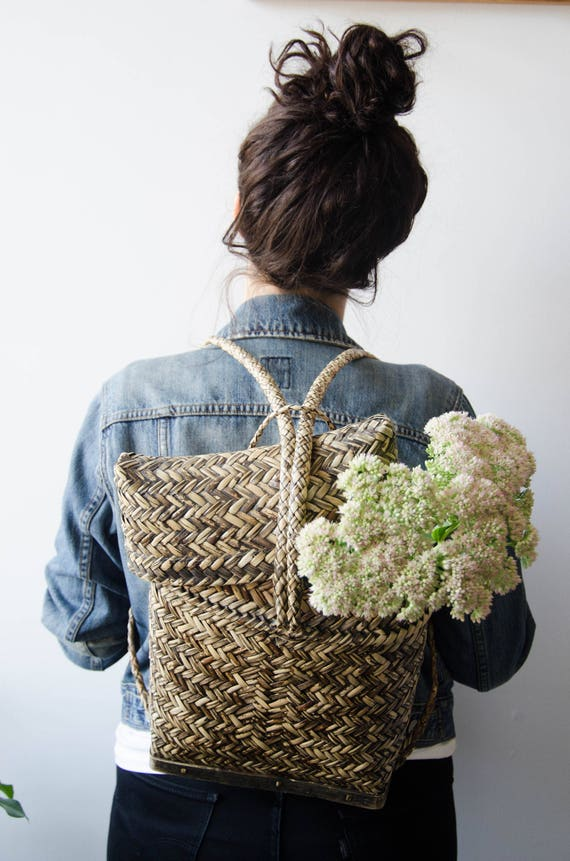 Vintage Rattan Basket Backpack