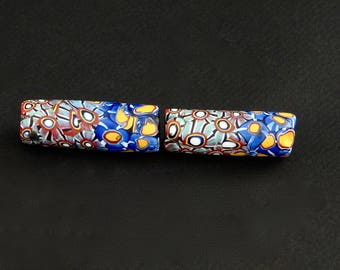 V89- a pair of antique multiple cane millefiori beads
