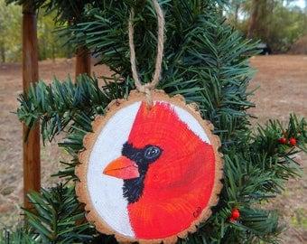 Cardinal Hand painted wood slice ornament