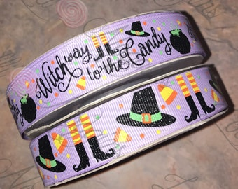 "Witch way to the Candy    USDR 7/8"" ribbon   Coordinated grosgrain set for bows and crafts"
