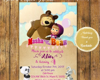 Digital file or Printed -Masha and the Bear Invitation-Masha y el Oso Invitacion-Birthday Party Masha and the Bear Invitation-Free Shipping