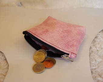 Pink leather clutch; Pink wallet; leather wallet.