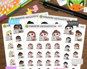 Laptop Kawaii Girls - Work Working Computer PC - Planner Stickers (K0022)