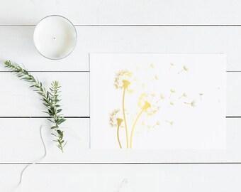 Dandelion print, Gold foil print, Dandelion art, Flower art, Foil print, Gold foil, Gold print, Wall art, Copper foil, Silver foil print