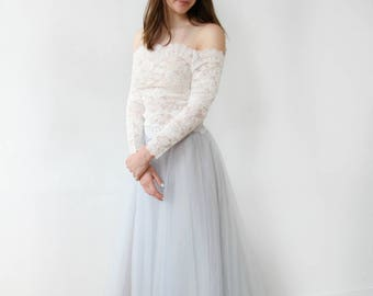 Off the Shoulder Long Sleeves Dusty Blue Wedding Dress