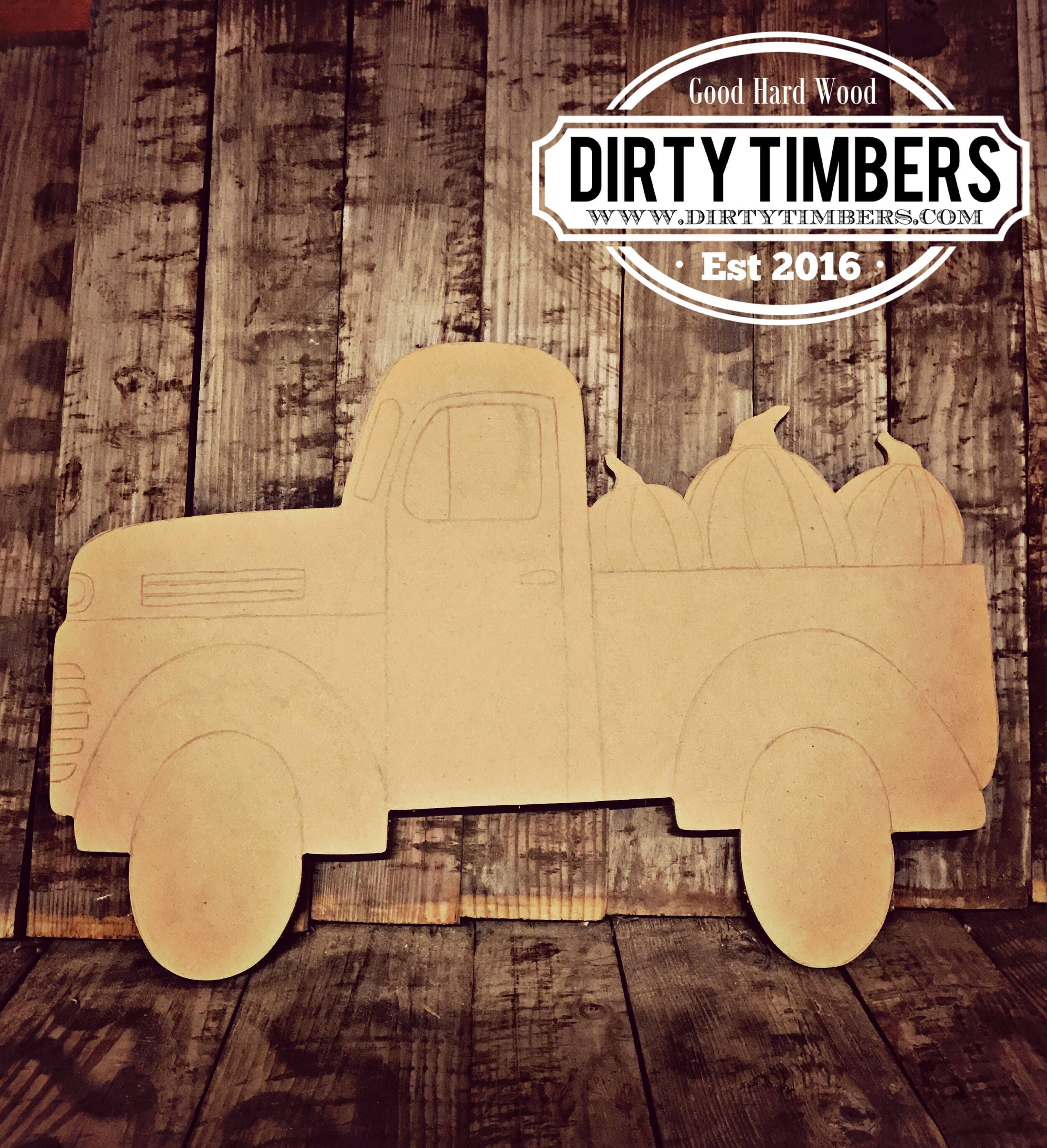 Unfinished Truck Door Hanger Pumpkin Fall Halloween