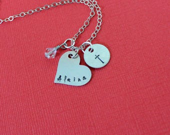First Communion Necklace, Cross Necklace, Name and Cross, Girls Necklace, Confirmation Necklace, Religious Jewelry