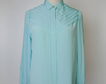 Mint Green Women Vintage Blouse Pleated Design 1980s Long Sleeves Size M