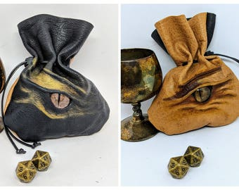 Leather Double Sided Dice bag, Black Dragon one side Brown Dragon on the Other side for up to 45 Dice.