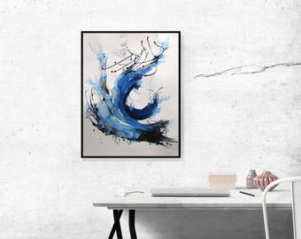 Painting/ Large Abstract Art Minimalist Art/ Original Art/ Blue Abstract Painting Acrylic On Paper/ Blue Black And White Abstract Wall Art