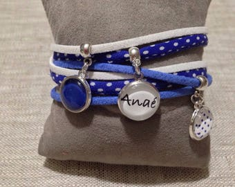 Bracelet cabochons customizable fabric & suede - names... Blue - mother's day - gift idea