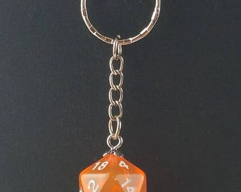 D20 Dice Dungeons & Dragons RPG Fantasy Clear Watermelon Keychain